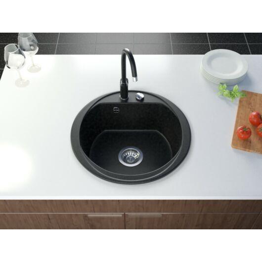 Don kerek gránit mosogató szett 3 féle választható csapteleppel (Beta, Move, Steel) automata szűrőkosaras leeresztővel, szifonnal fekete-szemcsés színben