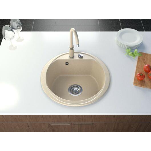 Don kerek gránit mosogató automata dugóemelő, szifonnal bézs-szemcsés