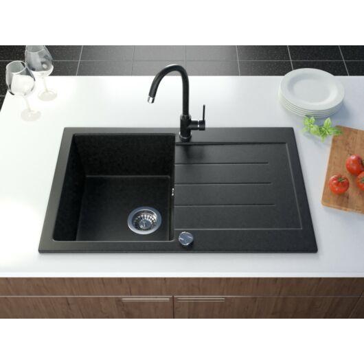 Roxy egymedencés gránit mosogató csepptálcával, fali csaphoz automata dugóemelő, szifonkészlet, fekete.szemcsés