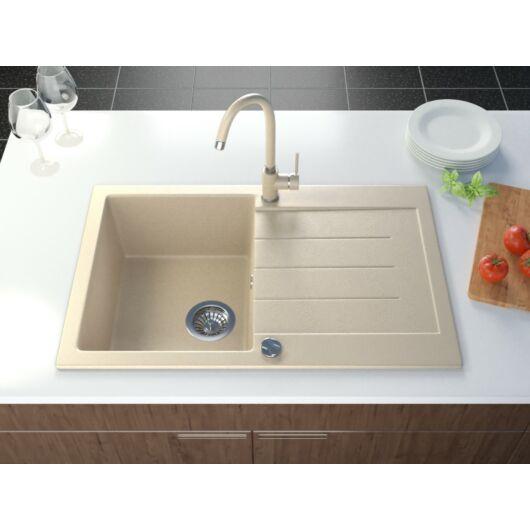 Roxy gránit mosogató automata dugóemelő, szifonnal, bézs