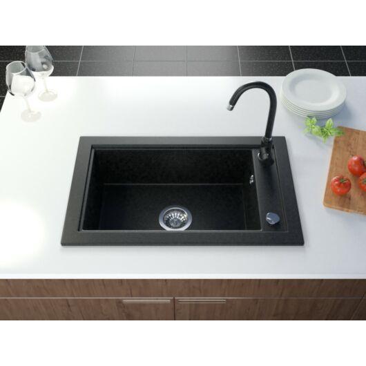 Sea egymedencés gránit mosogató automata dugóemelő, szifonnal, fekete-szemcsés