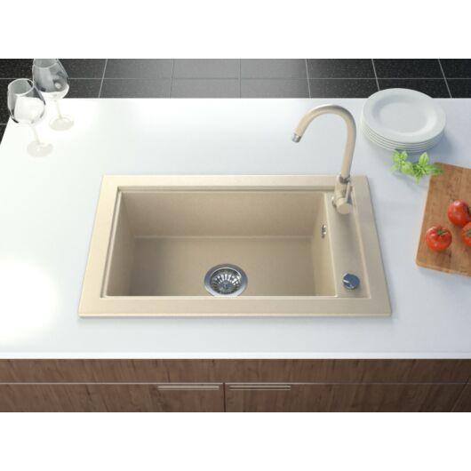 Sea gránit mosogató automata dugóemelő, szifonnal, bézs-szemcsés