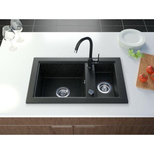 Sox gyümölcsmosós gránit mosogató automata dugóemelő, szifonnal, fekete-szemcsés