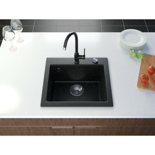 Start gránit mosogató automata dugóemelő, szifonnal, fekete-szemcsés