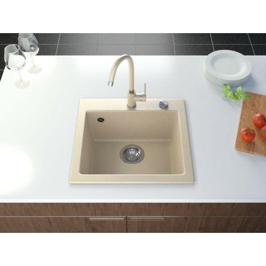 Start egymedencés gránit mosogató automata dugóemelő, szifonnal, bézs-szemcsés