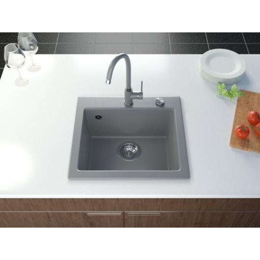 Start egymedencés gránit mosogató automata dugóemelő, szifonnal, szürke