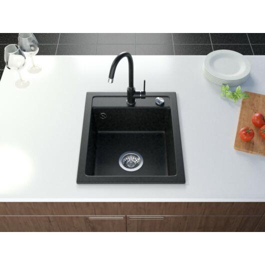 Start New gránit mosogató automata dugóemelő, szifonnal, fekete-szemcsés