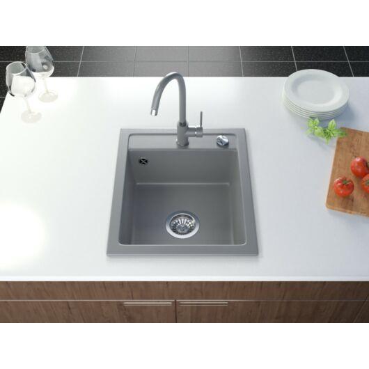 Start New gránit mosogató automata dugóemelő, szifonnal, szürke
