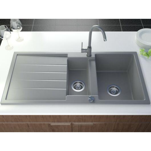 Yax2 gránit mosogató automata dugóemelő, szifonnal, szürke