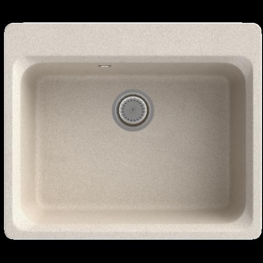 Lille egymedencés gránit mosogató automata dugóemelő, szifonnal, bézs