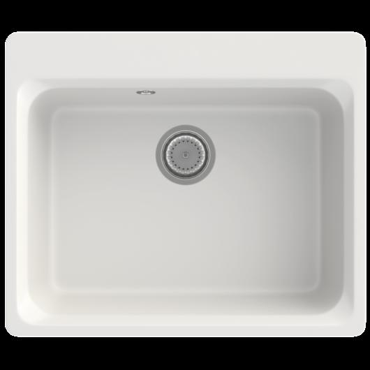 Lille egymedencés gránit mosogató automata dugóemelő, szifonnal, fehér