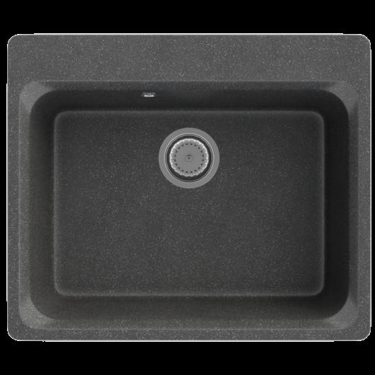 Lille egymedencés gránit mosogató automata dugóemelő, szifonnal, fekete-szemcsés