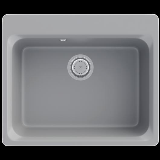 Lille egymedencés gránit mosogató automata dugóemelő, szifonnal, szürke