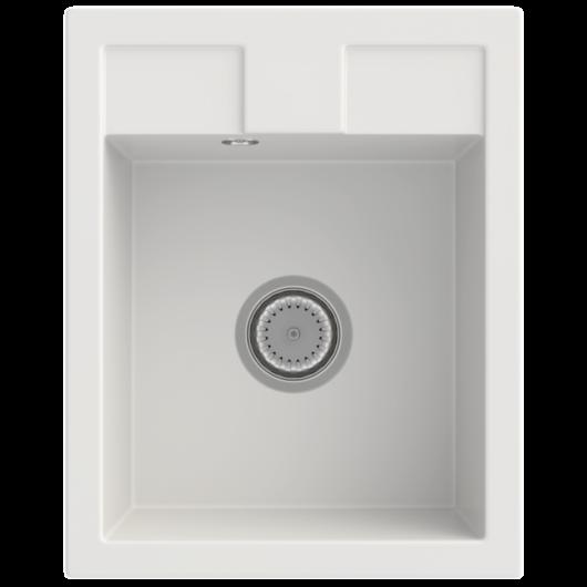 Orlean egymedencés gránit mosogató automata dugóemelő, szifonnal, fehér