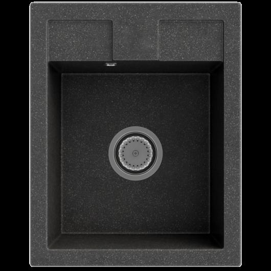 Orlean egymedencés gránit mosogató automata dugóemelő, szifonnal, fekete-szemcsés