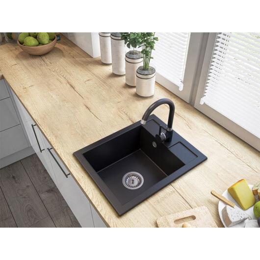 Orlean egymedencés gránit mosogató automata dugóemelő, szifonnal, fekete
