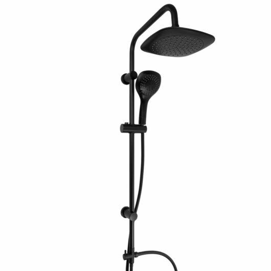 Zen1fürdőszobai  zuhanyszett Slim esőztető szögletes zuhanyfejjel fekete