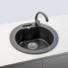 Kép 1/5 - Malibu 10 kerek gránit mosogató, szifonnal fekete-szemcsés