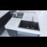 Kép 1/5 - A-POINT 140 kétmedencés gránit mosogató automata dugóemelő, szifonnal, fekete-szemcsés