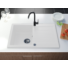 Kép 1/3 - Roxy egymedencés gránit mosogató csepptálcával, automata dugóemelő, szifonkészlet, fehér