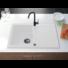 Kép 1/4 - Roxy egymedencés gránit mosogató csepptálcával, fali csaphoz automata dugóemelő, szifonkészlet, fehér