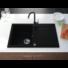 Kép 1/4 - Roxy egymedencés gránit mosogató csepptálcával, fali csaphoz automata dugóemelő, szifonkészlet, fekete