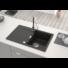 Kép 1/7 - Ava Soul egymedencés gránit mosogató csepptálcával automata dugóemelővel, szifonnal, fekete